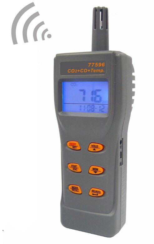 AZ77596 Combo CO2 & CO & Temperature Portable Meter Checking Indoor Air Quality Gas Detector Big LCD w / Backlight Display