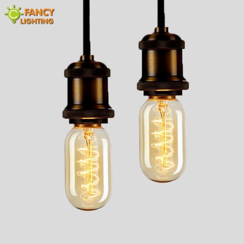 Retro light E27 vintage lamp 110V/220V tube light bulb T45-S for home/bedroom/living room industrial decor 40W lampada filamento