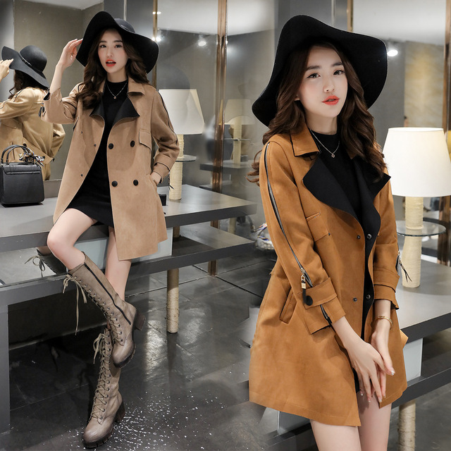Time-limited 2016 Fashion Spring Winter Patchwork Suede Fabric Women Coat Autumn Leather Jacket Outerwear Coats Trench Jackets