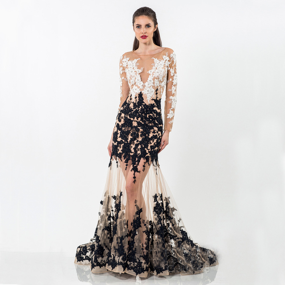 Online Get Cheap Black Lace Mermaid Dress with Long Sleeve ...