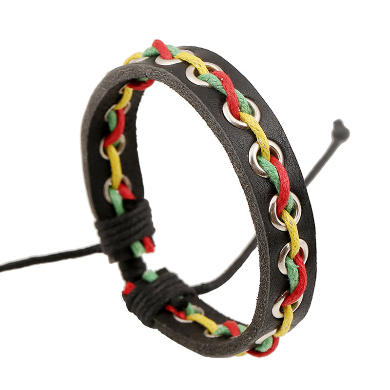 Summer Style Leather Bracelet Silver Plated Hollow Bracelets & Bangles Bohemian Rainbow Colored Braided Rope Elastic Wrist Girls