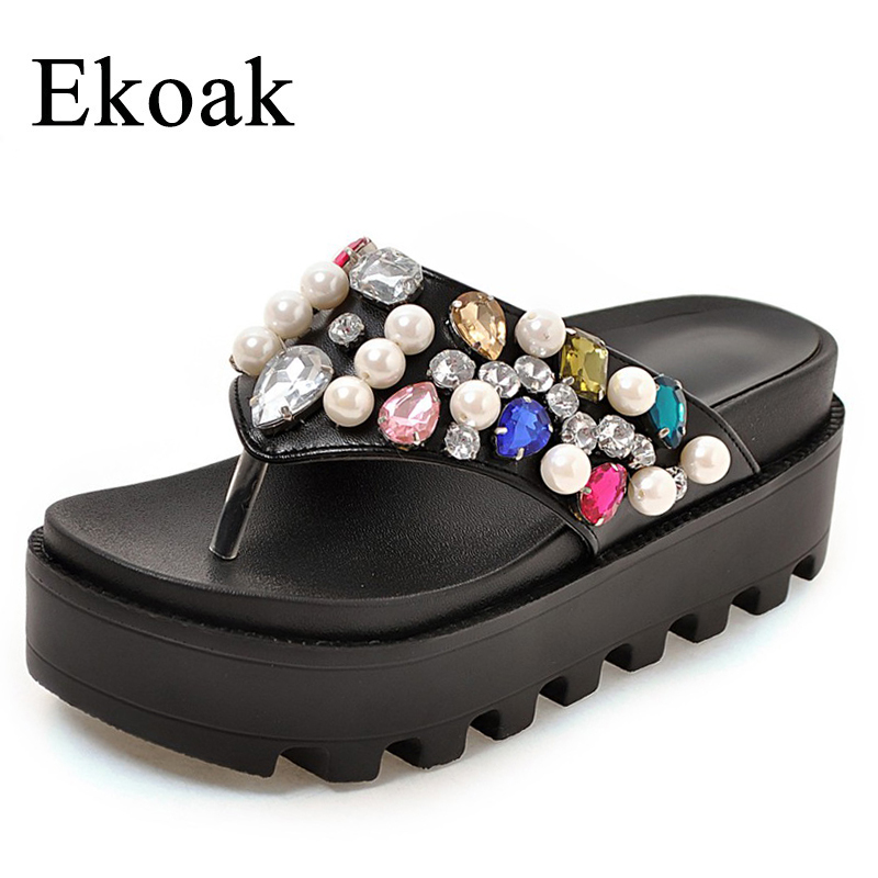 Ekoak Women Sandals New 2018 Summer Shoes Woman Fashion Crystal Flip Flops Ladies Wedges Platform Sandals Beach Shoes Woman women sandals 2017 summer shoes woman flips flops wedges fashion gladiator fringe platform female slides ladies casual shoes