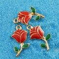 Julie wang 5 pcs liga charme banhado a ouro esmalte vermelho rose pingente encantos handmade pendurado topos