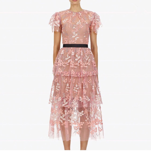 341b65c70f6cb US $33.53 22% OFF|Aliexpress.com : Buy self portrait 2019 Summer Women  Short Sleeve Mesh Sequined Flower Embroidery Sexy Party Dress Runway Pink  Layer ...