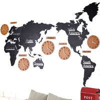 Nordic Style Creative Wood Acrylic World Map Wall Clock Quartz Needle Mute Large Clocks Home Living Room Art Decoration Crafts