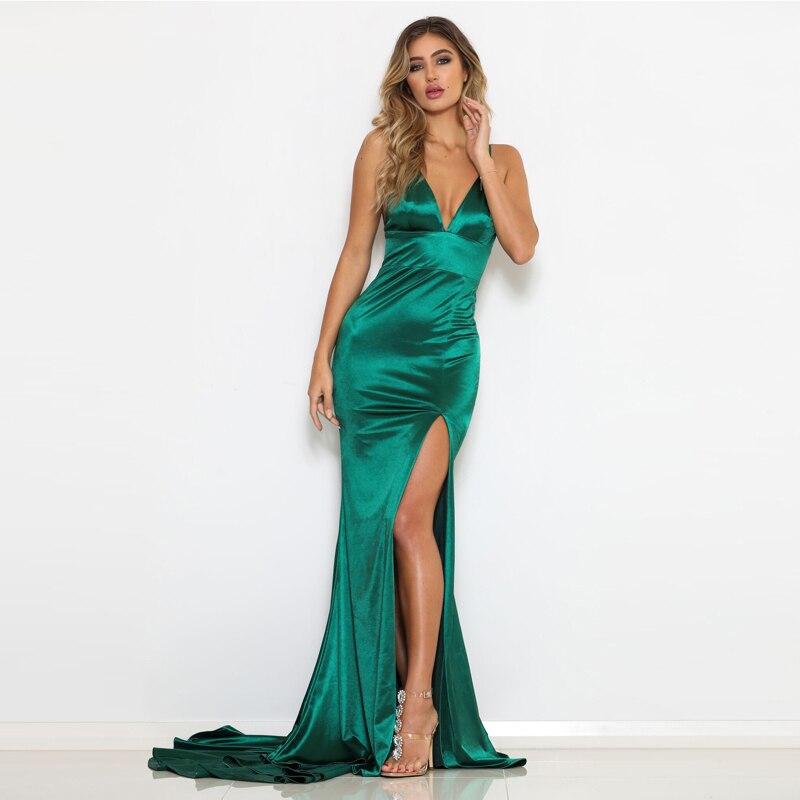 V Neck Backless Green Split Front Maxi Dresses Open Back Evening Party Dresses Elegant Satin Floor Length Long Mermaid Dresses-in Dresses from Women's Clothing    1