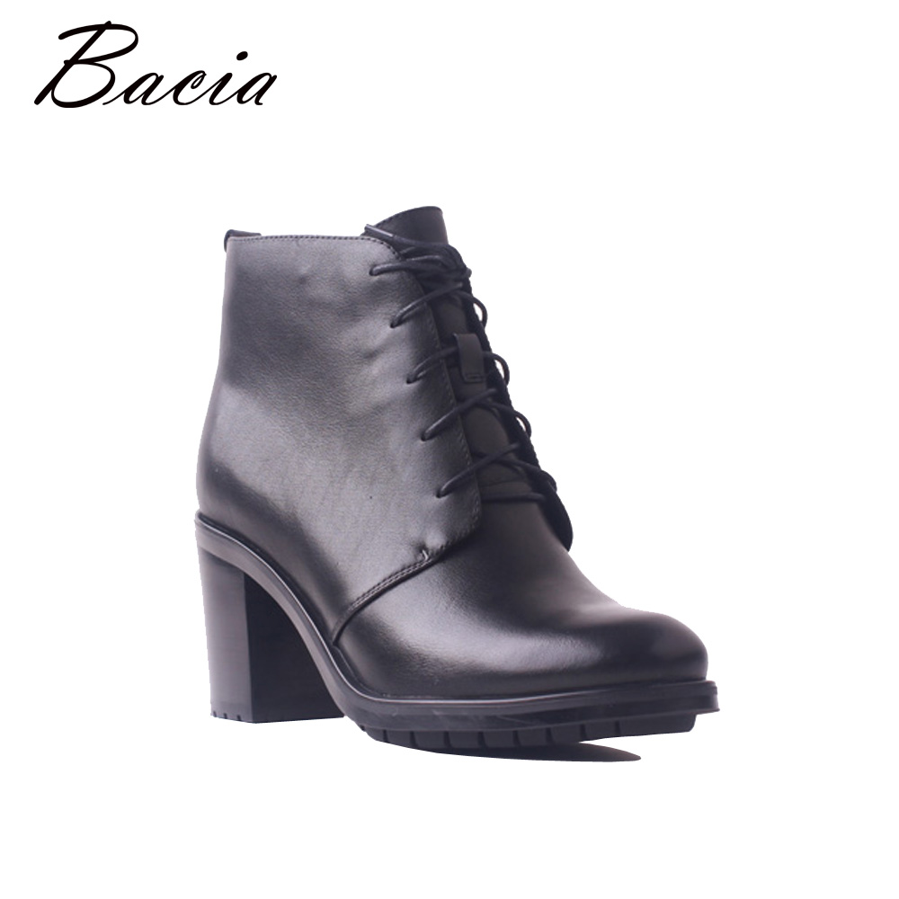 Bacia Fashion Boots Women Genuine Leather High Heels Ankle Boots Zipper Short Plush Winter Warm Full Grain Leather Shoes SB105 bacia women high heels ankle boots genuine leather shoes warm short plush inside autumn fashion pure black botas mc023