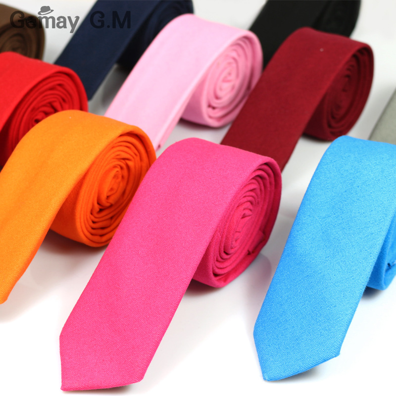 Casual Fashion New Men's Tie Solid Color Linen Cotton Necktie 5cm Width Skinny Narrow Neck Ties For Party Red Pink 10 Colors