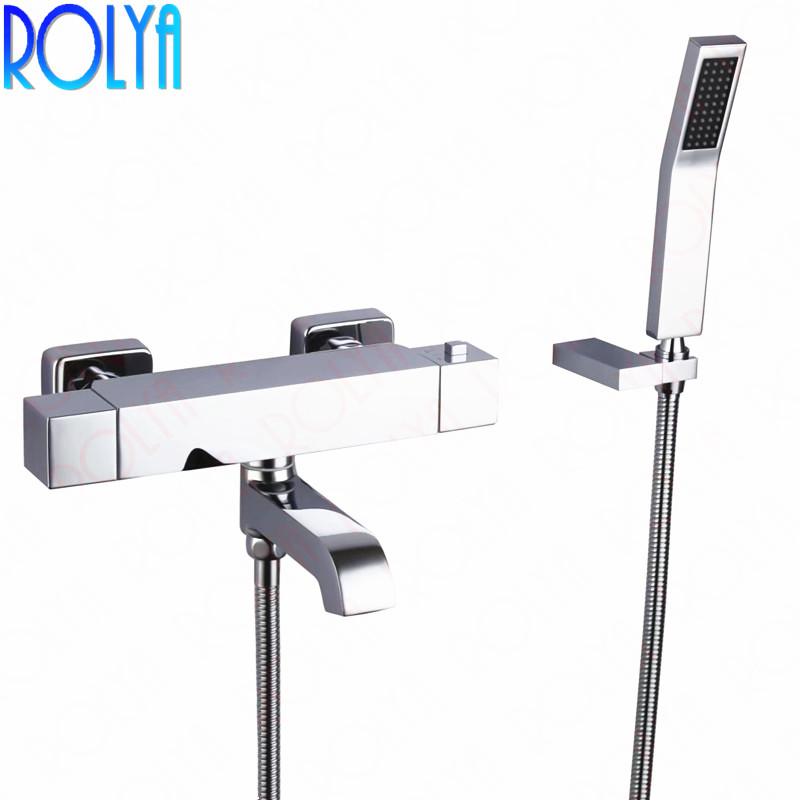Rolya Square Style Wall Mounted Bathtub Faucet Thermostatic Solid Brass Chrome Thermostat Bath Shower Mixer Taps-in Shower Faucets from Home Improvement    1