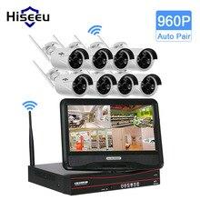 Hiseeu 8CH 960 P 10 Pouce Displayer Sans Fil NVR CCTV Système Caméra IP IR-CUT Bullet CCTV Accueil Système de Sécurité CCTV Kits