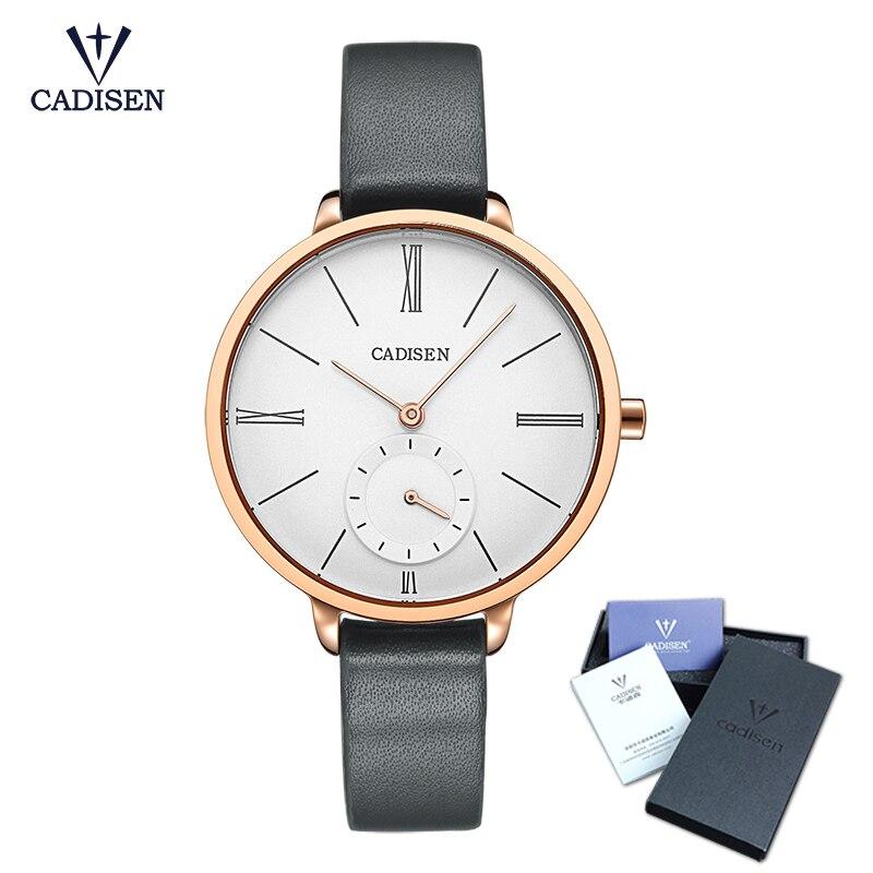 CADISEN caliente Marca de Cuarzo Reloj de Señora Impermeable Reloj de moda de Cuero Genuino de Las Mujeres de Lujo Gran Dial relojes de Pulsera de Regalo
