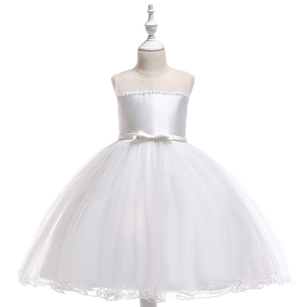 Knee Length White   Flower     Girl     Dresses   2019 Sequined Applique   Girls   Pageant   Dresses   First Communion   Dresses   Party   Dresses