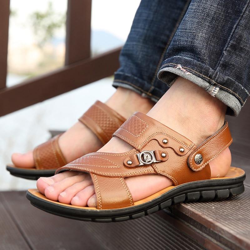 Sandały Męskie Skórzane Buty Beath Oryginalne 2018 Miękkie - Buty męskie - Zdjęcie 6
