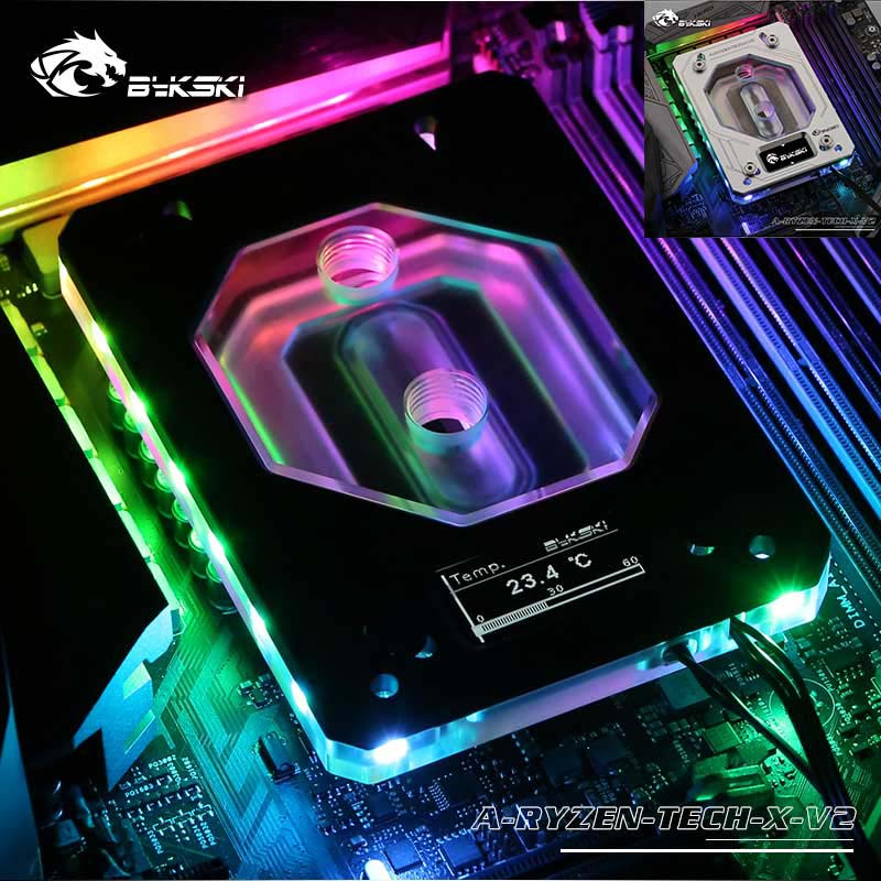 Bykski CPU Water Block for AMD AM3/AM4+X399 Digital display thermometer RGB(12V)/RBW(5V)/NoLED V2 water cooler Liquid CoolingBykski CPU Water Block for AMD AM3/AM4+X399 Digital display thermometer RGB(12V)/RBW(5V)/NoLED V2 water cooler Liquid Cooling