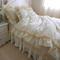 Free Shipping Beige Ruffle Korean Princess Bedding Set 3 4pcs Twin Full Queen King Size White