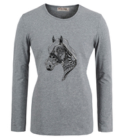 Fashion Casual Cotton Round Neck Girl T Shirts Punk Ornate Unicorn Horse Head Art Graphic Women