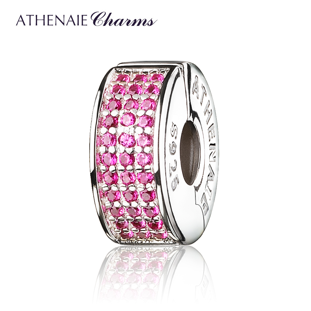 ATHENAIE 925 Sterling Silver jewelry Clip Spacer Pave CZ Enamel Charm Beads Fit European Bracelets and Necklace Color Red/White
