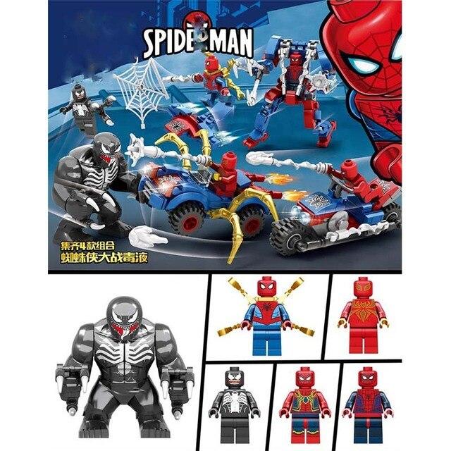 384pcs Marvel Avengers Super Heroes Mech Venom Spider-Man vs Figuras de Ação Building Blocks Brinquedos Para Crianças Presentes