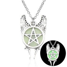 HOT Antique Pentagram Pentacle Angel Wings Pendant Supernatural Necklace Women Jewelry Luminous Necklace GLOW in the DARK gift silver link luminous stone pendant necklace long chain moon pendant glow in dark hollow women necklace pendants jewelry