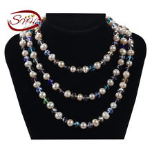 1eab038f2a30 SNH 8mm patata B 120 cm color mezclado largo Niza boda collar de perlas (China