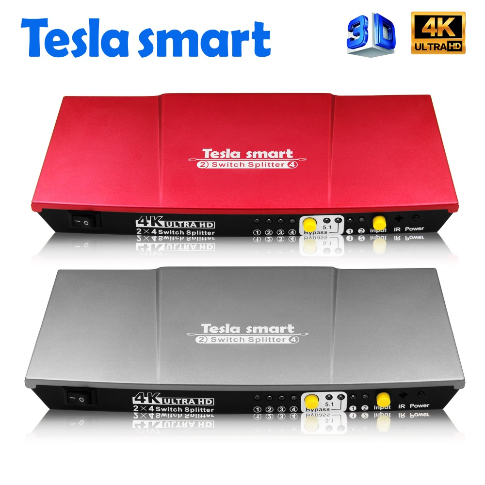 Tesla smart aluminio de alta calidad UHD 4 K 2 en 4 Out HDMI interruptor divisor 2x4 con salida IR SPDIF