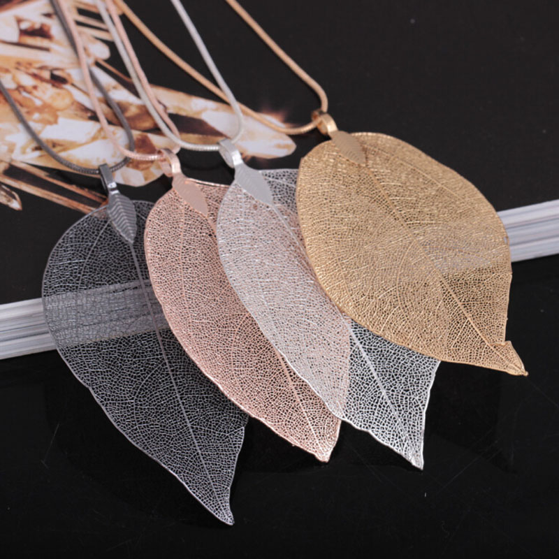 2018 Fashion Trendy Big Necklaces Sweater Coat Long Necklace Women Jewellery Woman Pendant Special Leaves Leaf Neckless womens35