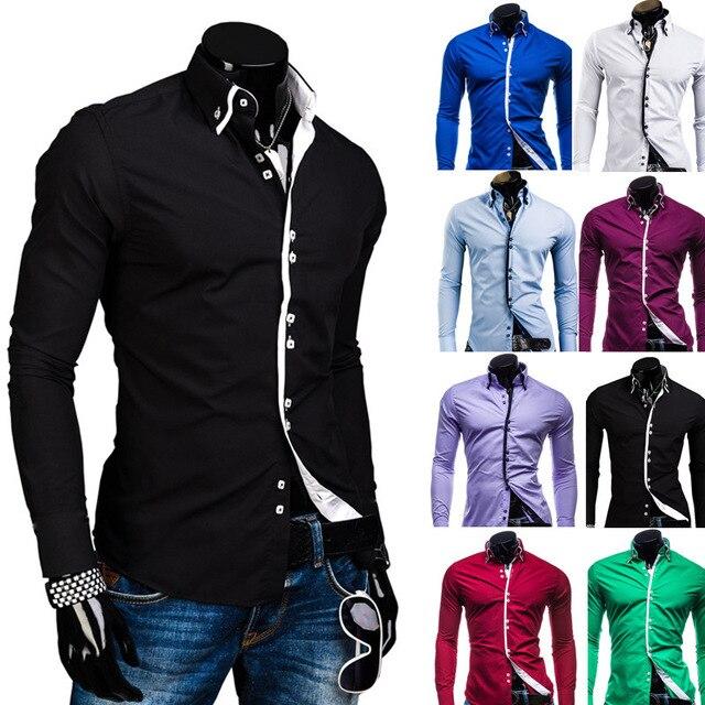 Double 2015 couche manches nouvelle longues col chemise hommes XqRCfrq
