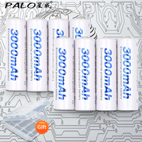 8pcs 2card PALO AA Rechargeable Battery AA NiMH 1 2V 3000mAh Ni MH 2A Pre Charged