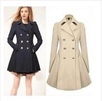 Double Breasted Plus Size S To 4XL Turn Down Collar Trench Coat Women Autumn Winter Women