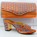 Orange Shoes and Bag Set Decorated with Rhinestone Elegant Italian Women Shoes and Bag Set Matching Shoes and Bag for Wedding