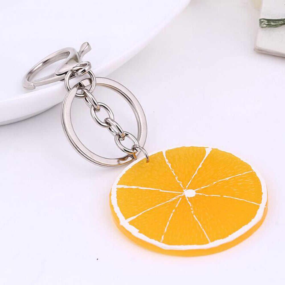 LLavero de fruta fresca manzana/sandía/limón/naranja/piaya/Kiwifruit/Mangosteen/manzana de pino/ LLavero de Banana/llaveros