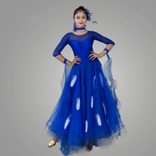 2016 Women Lady Ballroom Dance Dress 4Colors Feather Skirt Backless Half Sleeve Performance Stage Modern Jazz Waltz Vestido