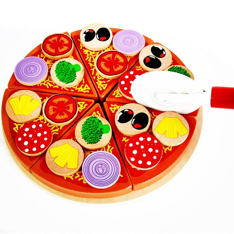 27 pz di legno pizza bambini giocattoli cucina simulazione cibo taglio giocattoli da cucina gioco di