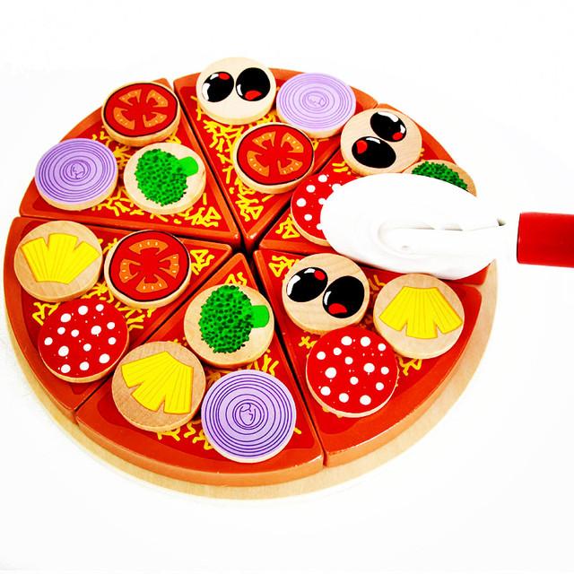 27 unids De Pizza De Madera Los Niños Juguetes de Cocina Simulación Comida Corte Juguetes Juegos de imaginación Cocina Juegos de Vajilla de Juguete Niña