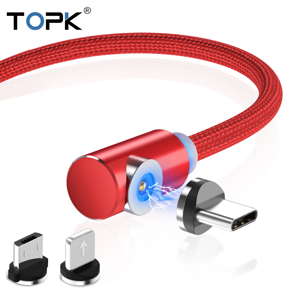TOPK L-Type Magnetic USB Cable for iPhone x xs Type C Micro Usb for Xiaomi Samsung Galaxy
