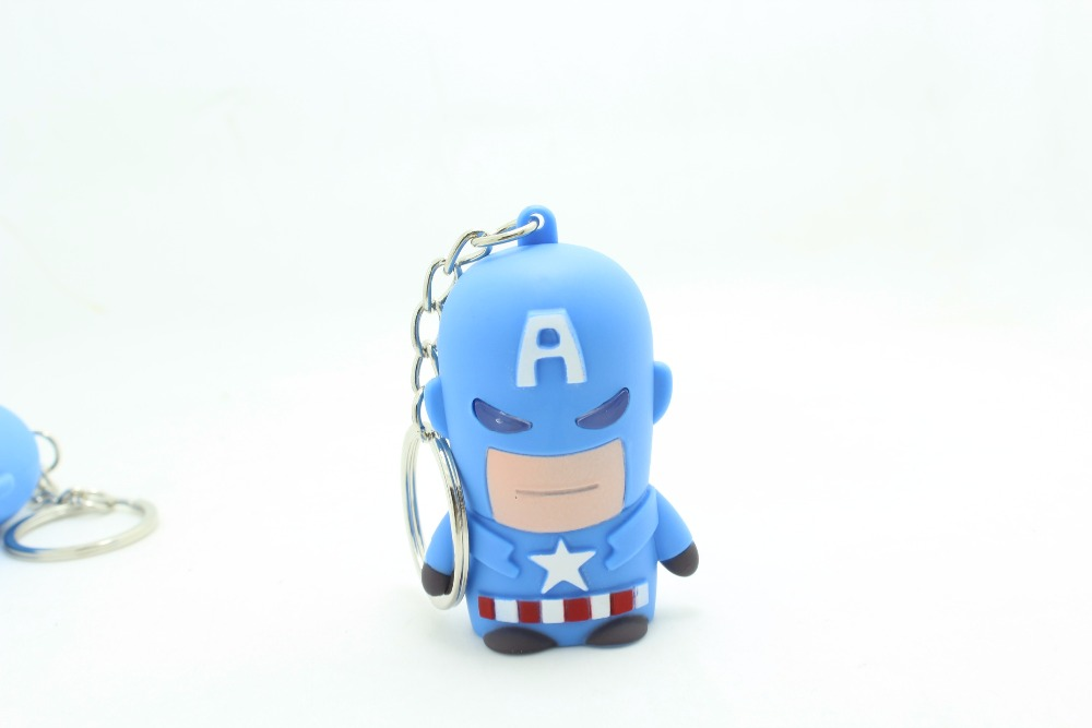 1Pcs New Super Hero Figure Anime Captain America Keychain LED Light Up Sound Light Toys Party Creative Gifts
