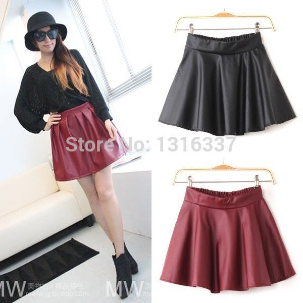 WOMEN HIGH WAISTED FAUX LEATHER SOFT PU SKATER GRUNGE FLIPPY PLEATED SWING SKIRT