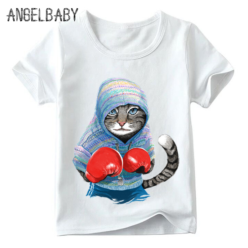 Children Super Cool Boxing Cat Attack Print T Shirt Baby Boys/Girls Short Sleeve Summer Tops Kids Great Casual Clothes,ooo5043
