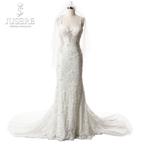 Robe de mariage Sexy Mermaid Wedding Dresses Sweetheart Straps Illusion Back Chapel Train Applications Tulle Bridal Gown