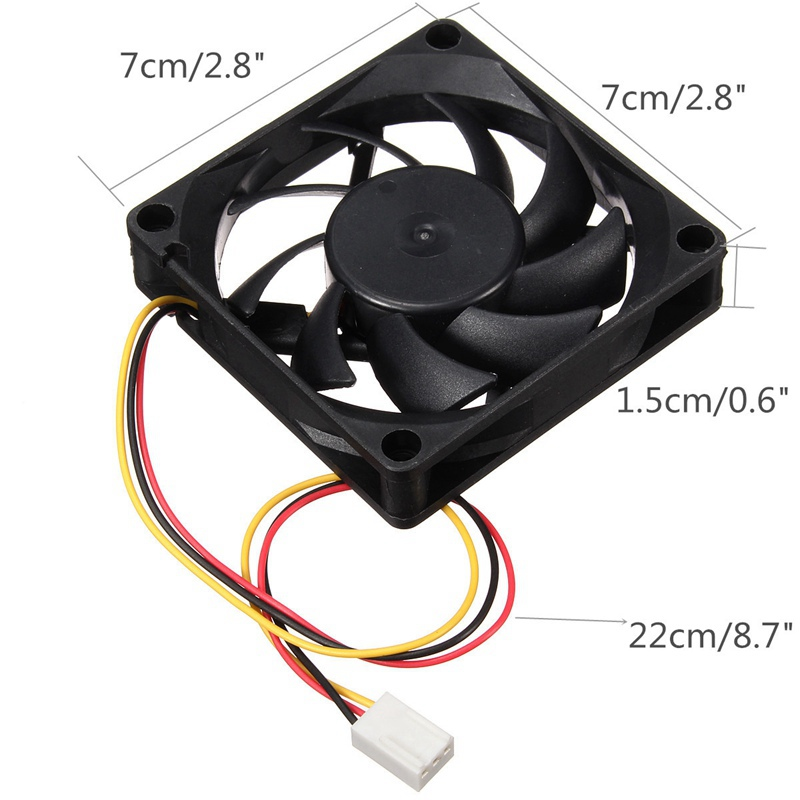 Black Heat Sink 70*70*15mm DC 12V 3Pin Internal Desktop Computer CPU Case Cooling Cooler Silent Fan 7cm medium computer cpu plastic cooling fan leaves card blower heat sink