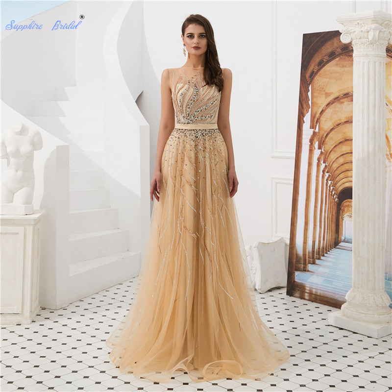 Sapphire Bridal sparkly beading A-line long   Evening     Dress   with sash Vestido De Festa see through tulle Formal   Dress   Party Gown