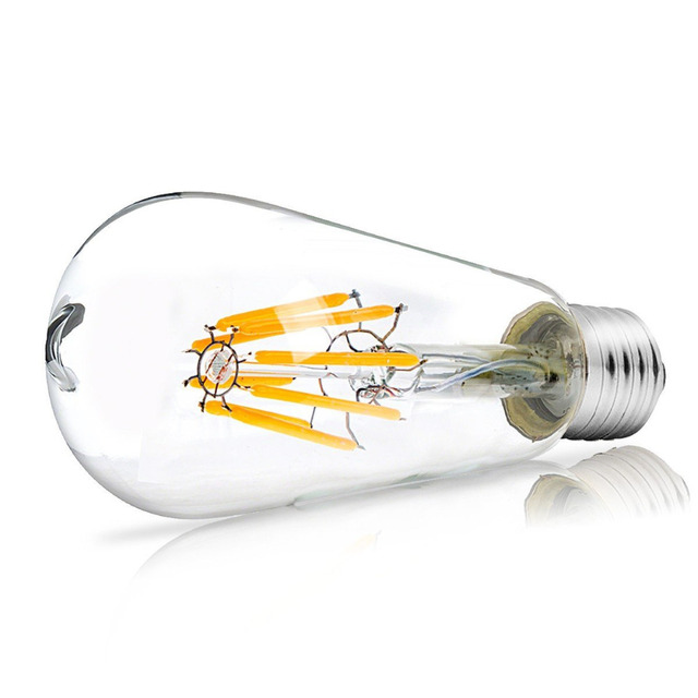 Dimmable ST64 LED Bulb 4W 8W E26 E27 Filament Light Bulb 110V 220V