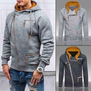 Image 5 - Nova moda masculina camisola com zíper outonnsolid malha streetwear masculino suéteres de inverno com cordão casual camisolas finas hip hop