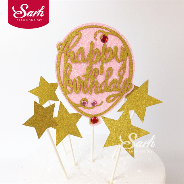 1 Pack Lovely Pink Balloon Gold Bling Stars Happy Birthday Cake Topper Decorations For