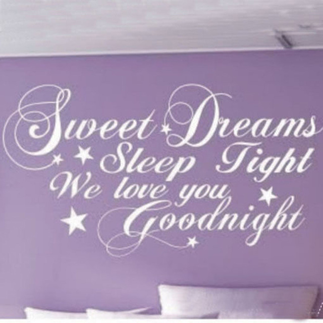 Superieur SWEET DREAMS , SLEEP TIGHT , WE LOVE YOU , GOODNIGHT QUOTE LETTERING SAYING  VINYL DECAL