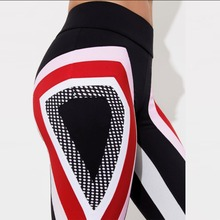 цена Swirl Striped Pattern Print Black Polyester Skinny Leggings Fashion Women Sportswear High Waist Leggings