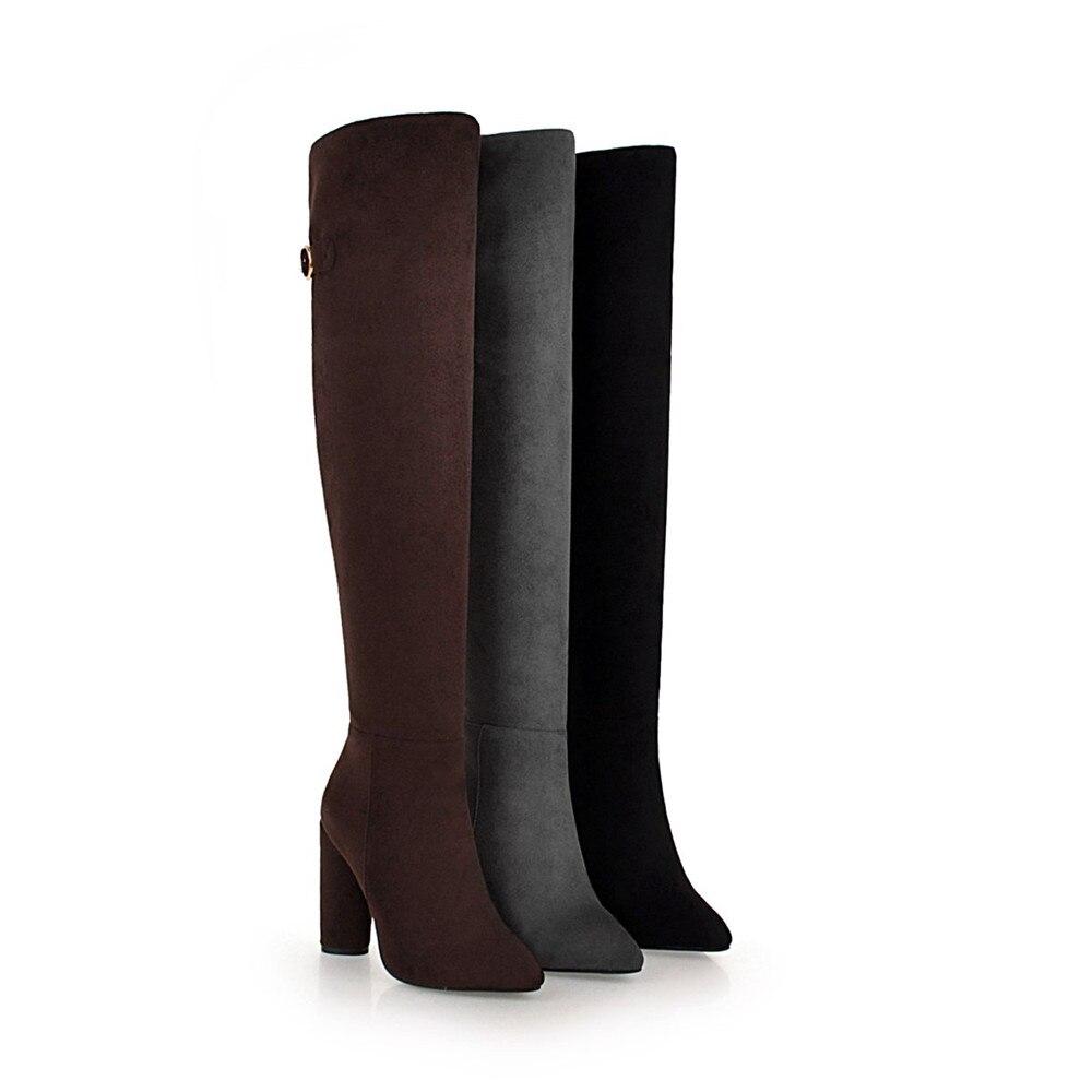 Platz die 46 34 Frauen Reitstiefel Super Hohe Handgemachte gray Qualität Orshirly Über knie Reit Faux brown Wildleder Stiefel Plus Größe Black Heels Cn0wZxqwa