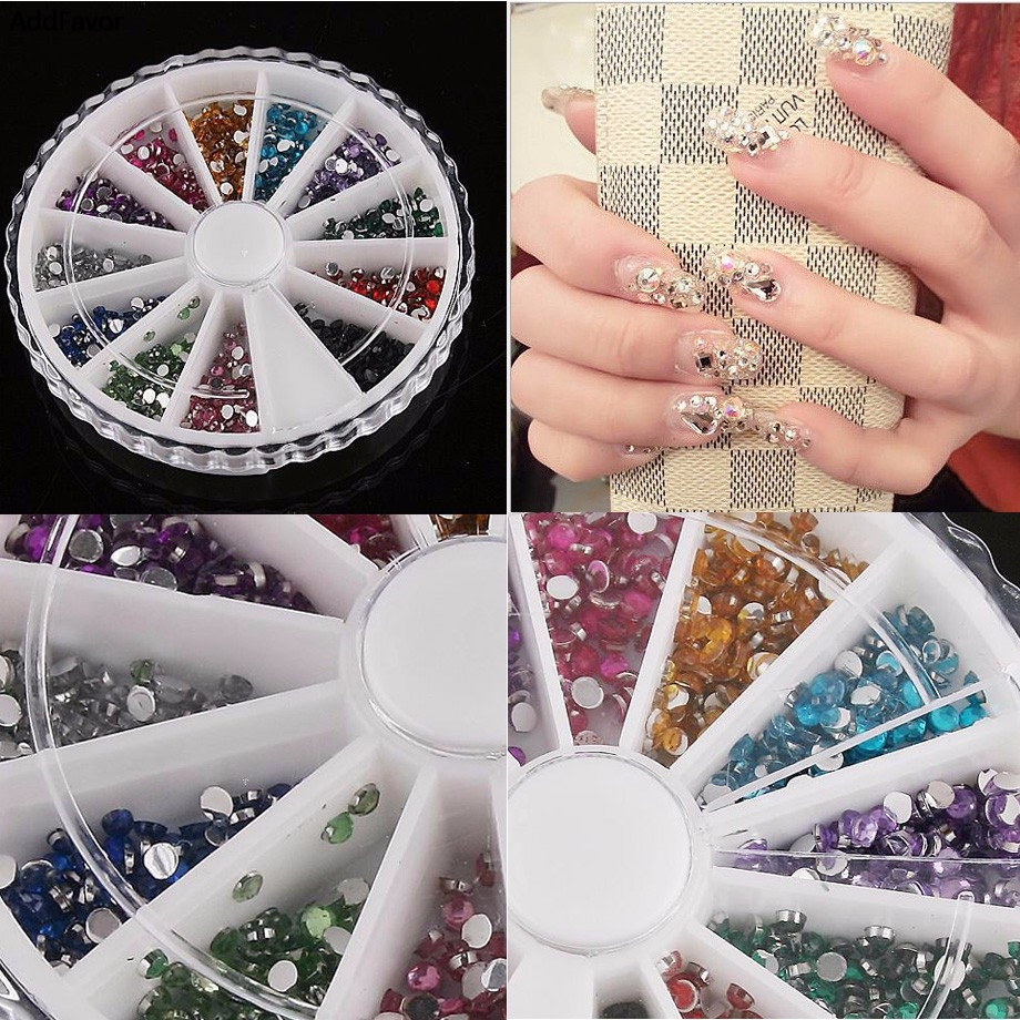 AddFavor 1 Pack Nail Art Design Rhinestones 3D Nail Art Tips Gems Crystal Glitter Sharp End Rhinestone DIY Nail Decoration Wheel