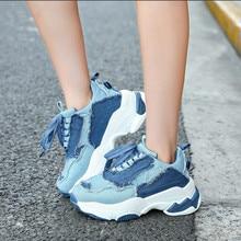 199dd450 2019 nuevo vintage denim azul zapatillas de deporte de las mujeres de otoño  e invierno de moda de encaje destruir patchwork zapa.