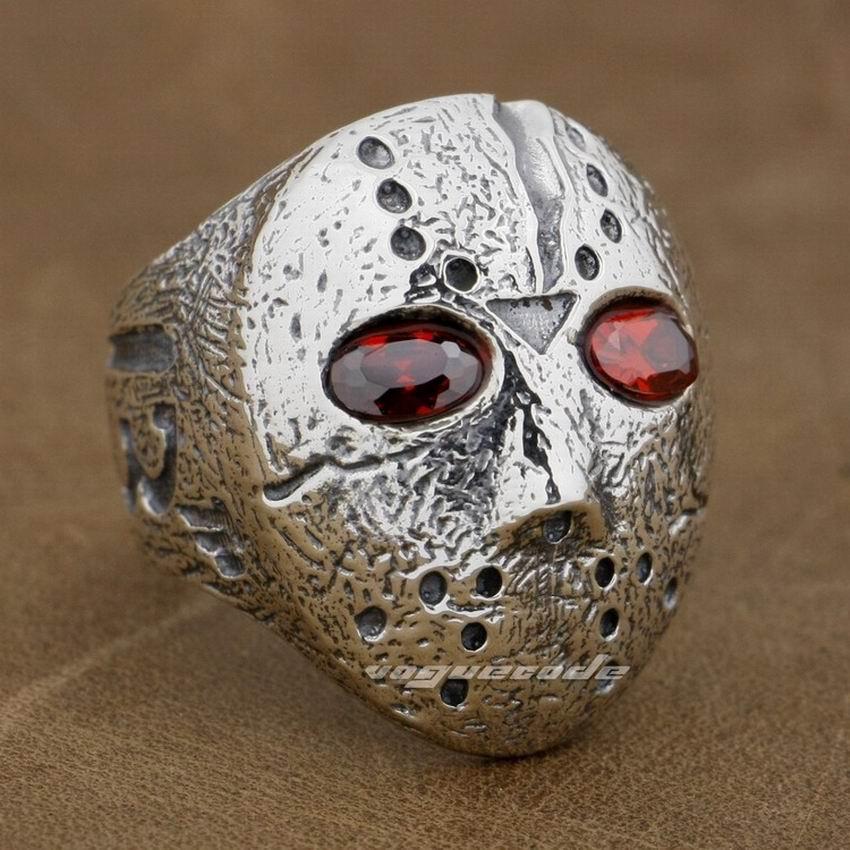 Halloween Jason masque Hockey 925 en argent Sterling hommes motard anneau à bascule 9D004 - 3